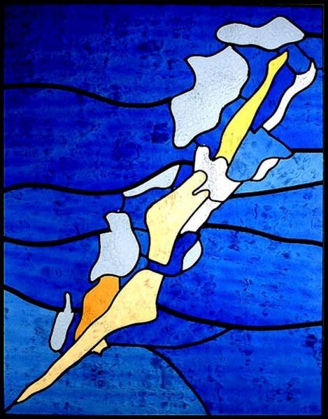 Een strakke duik naar beneden: Zwemster in koningsblauw, 55 x 72 cm, € 295