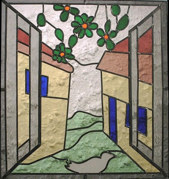Door het venster door het raam kijkend op het erf, 48 x 46 cm €255